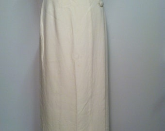 Vintage Wool Blend Ivory Wrap Skirt