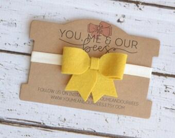 Yellow Felt Bow Headband; Light Yellow felt bow on an ivory elastic headband; baby headband, girl's headband; Felt Bow Headband