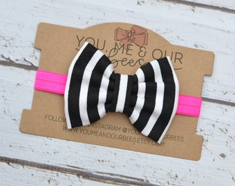 Black & White Bow Headband; Black and White Striped fabric bow on a Neon Pink elastic headband; baby, toddler, or girl's headband