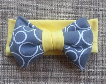 Big Bow Grey Skys || Big Bow Headband || Big Bow Headwrap