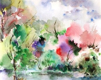 Watercolor Print of Summer Landscape Abstract Watercolor Painting