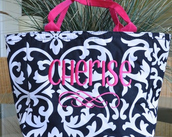 Lunch Tote, Insulated, Black & White Damask with Pink Accents, Monogrammed