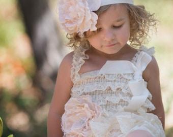 Ivory Flower Headband, Ivory baby heaband, Toddler girl Headband, Ivory Flower girl Headband, Flower Headband