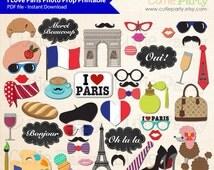 Paris Theme Photo Booth Prop, I Love Paris Photo Booth Prop, France Photo Booth Prop Printable