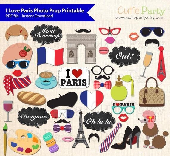 Paris Theme Photo Booth Prop, I Love Paris Photo Booth Prop, France ...
