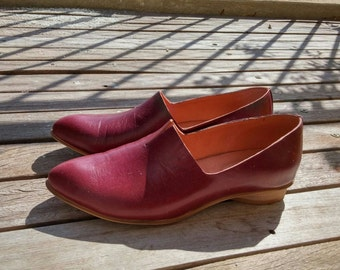 Wine Red Leather Shoes / Flat Leather Shoes / Women Shoes / Every Day Shoes / Comfortable Shoes / Wooden Heels Shoes - Shelly
