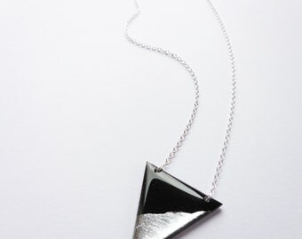 statement necklace geometric necklace contemporary jewelry silver dipped pendant necklace eco-friendly necklace geometric jewelry gift idea