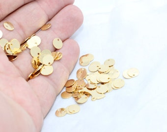 20 Pcs 8mm 24k Shiny Gold Disc, Stamped Disc, Coins, a hole disc, Stamp, Stamping tag , DOM45