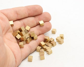 20 Pcs Raw Brass Cubes, for Square Studs , Solid Brass Cube Blank , Geometric Cube , PA8