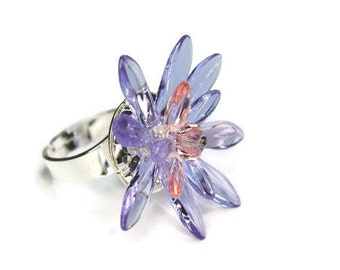 Waterlily Ring in Pink and Lilac, Flower Ring, Glass Ring, Crystal Ring, Pink Ring, Lilac Ring, Purple Ring, Adjustable Ring, Statement Ring