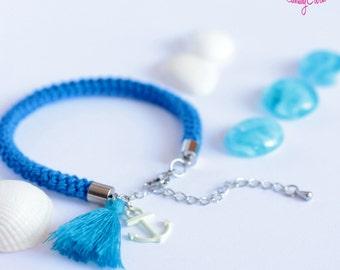 Anchor and tassel blue and white bracelet // Nautical bracelet // Rope bracelet // Navy bracelet // Anchor charm // Knit cord bracelet
