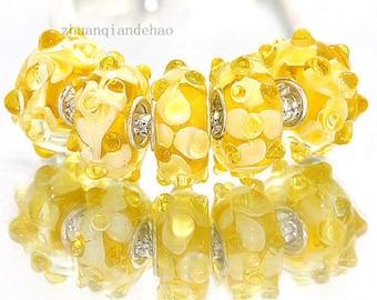 1pc Yellow Murano Lampwork Bead