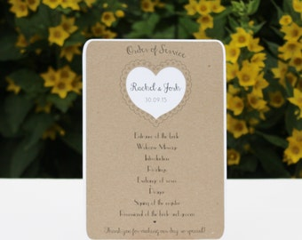 Rustic heart Order Of Service flat style card