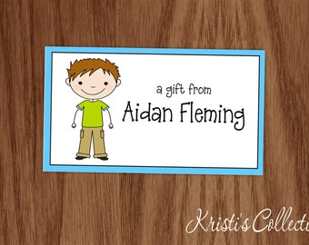 Boys Calling Card Gift Inserts - Personalized Custom Kids Personal Business Cards - Gift Enclosures - Stick Figure