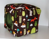 Guinea Pig Cuddle Cube, Hedgehog Snuggle Cozy - Reinforced Forest Animals and Green Fleece