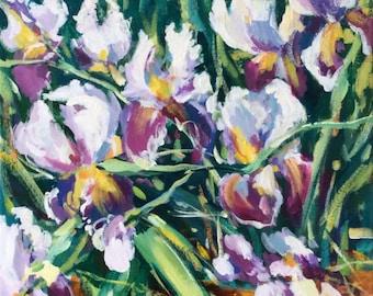 "Irises Original Acrylic painting on Canvas 12"" x 24"" Impressionist Flowers Fine Art"