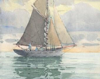 Dutch Sailing Vessel - Original Watercolour Print (Limited Edition)