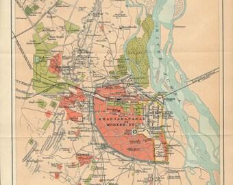 1909 Delhi India Antique Map