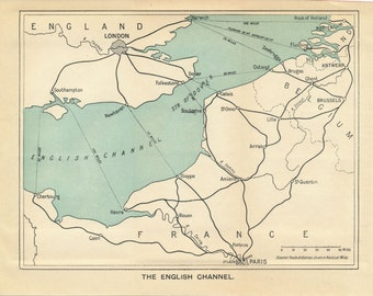 1929 English Channel Antique map