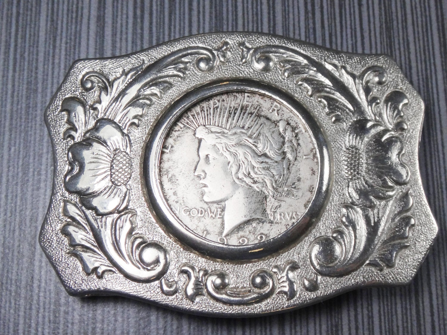 Vintage 1922 Liberty Silver Peace Dollar Belt Buckle Chambers