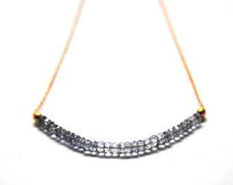 Blue quartz necklace with a 14 kt gold chain, rondelles necklace, gold necklace, gold and rondelles necklace