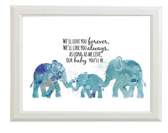 Boys Nursery Decor - A2 Poster - Nursery Poster Wall Art -A2 Poster Printable - A2 Nursery Printable - Elephant Nursery Decor