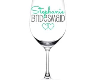 Set of 2 Bridesmaid Wine Glasses, Bridal Party Gift, Bridesmaid, Maid of Honor, Wine Glasses, Personalized Wine Glasses, Wedding Party