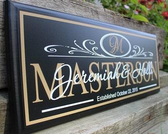 Monogram wedding sign-family establish sign-personalized wedding gift-personalized monogram sign-gift for groom and bride-custom last name