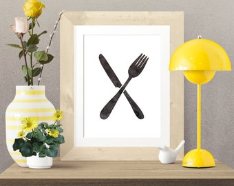 Black Watercolor Crossed Fork and Knife -  Wall Art Poster - Printable Poster - Digital Download - 300 DPI - 8 x 10 inches - PDF & JPEG