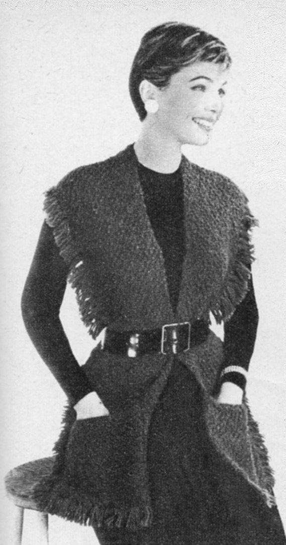 Easy Gilet Knitting Pattern : Vintage 1956 Knitting Pattern Ladies Jerkin Gilet digital
