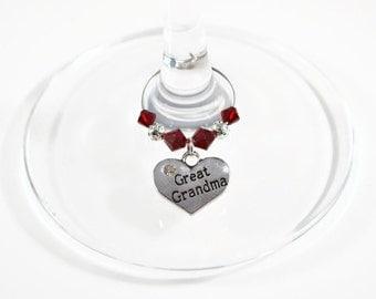 Great Grandma Wine Glass Charm - Swarovski Crystal - Great Grandma Birthday Gift - Great Grandma Mother's Day Gift - Great Grandmother Gift