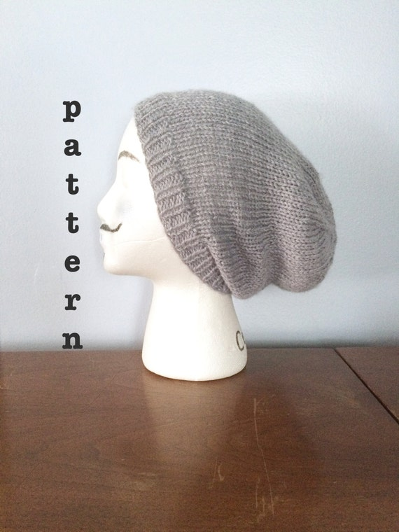 Mens Slouchy Beanie Knit Pattern : PATTERN Knitted Slouchy Beanie Pattern Mens Beanie Pattern
