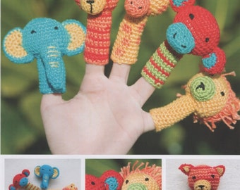 DMC (15098L/2)Safari Animal Finger Puppets Amigurumi Crochet Pattern - designed by Sara Mackin