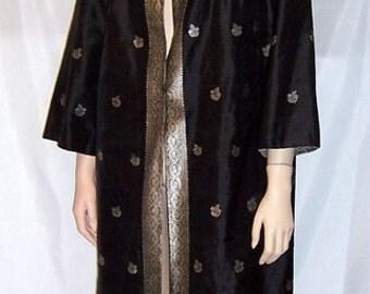 1960's Custom-Made, Black  and Silver, Silk Evening Coat (Hong Kong)