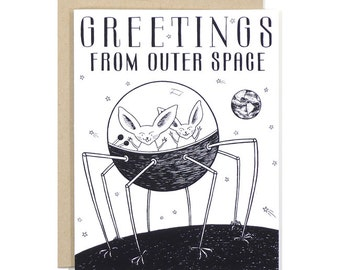 Greetings From Outer Space Card by Eville Eye Arts