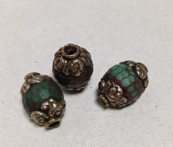 Beads Tibetan Old Blue Turquoise Glass Bead Ornate Silver Etched Handmade Earrings Jewelry Necklace Unique C