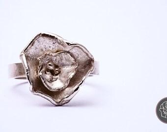 Ring Carnation, flower ring, silver flower ring, casted ring