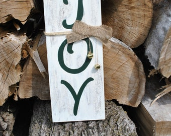 """SUPER SALE Hand-painted distressed Christmas 'JOY' sign. 14"""" X 6"""""""