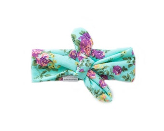 Pink, Purple, Seafoam Green, and Aqua Floral Headband - Baby, Infant, Toddler, Adult