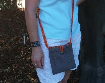 Purse handmade, crossbody bag denim, denim messenger bag, recycled jean, repurposed denim, motorcycle bag, cell phone holder, travel bag D36