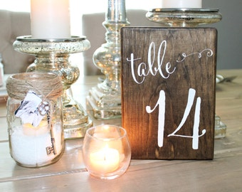 Wood Block Table Numbers --Set of 12--