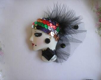 SALE!  Face pin, Art Deco, Art Nouveau, Downton Abby