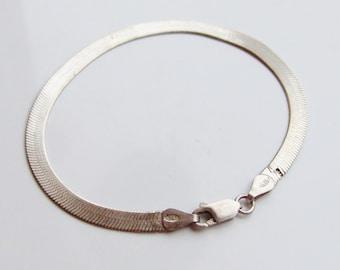 Vintage 925 Sterling Silver Flat Link Bracelet