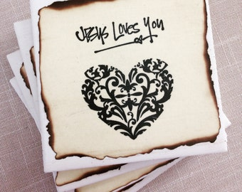 Jesus Loves You,Drink Coasters,Custom Coasters,Coffee Coasters,Christian Home Decor,Pastor Gift,Handmade Coasters