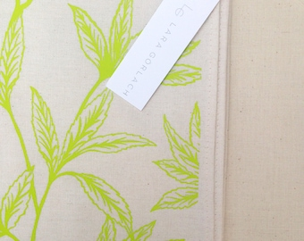 "Hand Screen Printed ""Delicate Leaf"" Tea Towel"