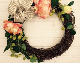 Wreath 20x20 Rustic Peony Flowers Grapevine Wreath with Stripped Bow