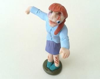 Female Zombie Figurine, Halloween Decoration, Polymer Clay Figure, Zombie Ornament, OOAK Sculpture, Halloween Cake Topper, Zombie Doll