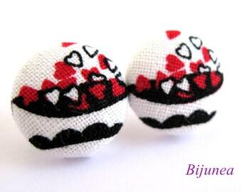 Heart stud earrings - Heart post earrings - Red Heart studs - Heart posts - Heart earrings sf999