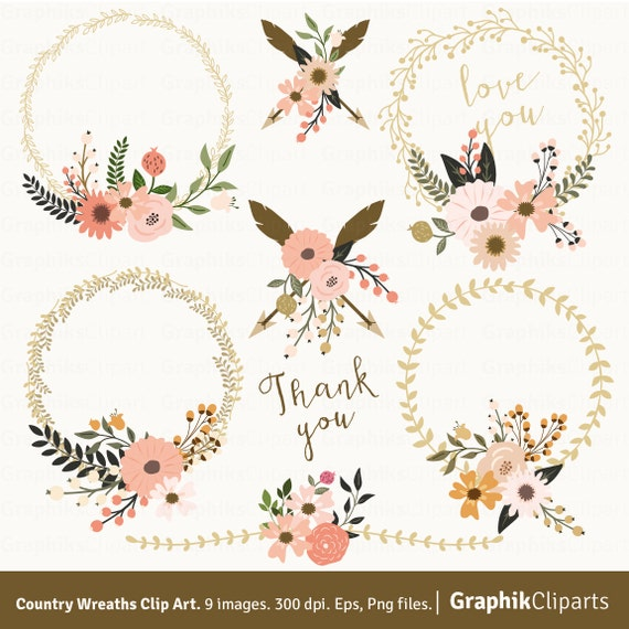 Country Wreaths Clip Art. WREATHS CLIP ART. Rustic Wedding