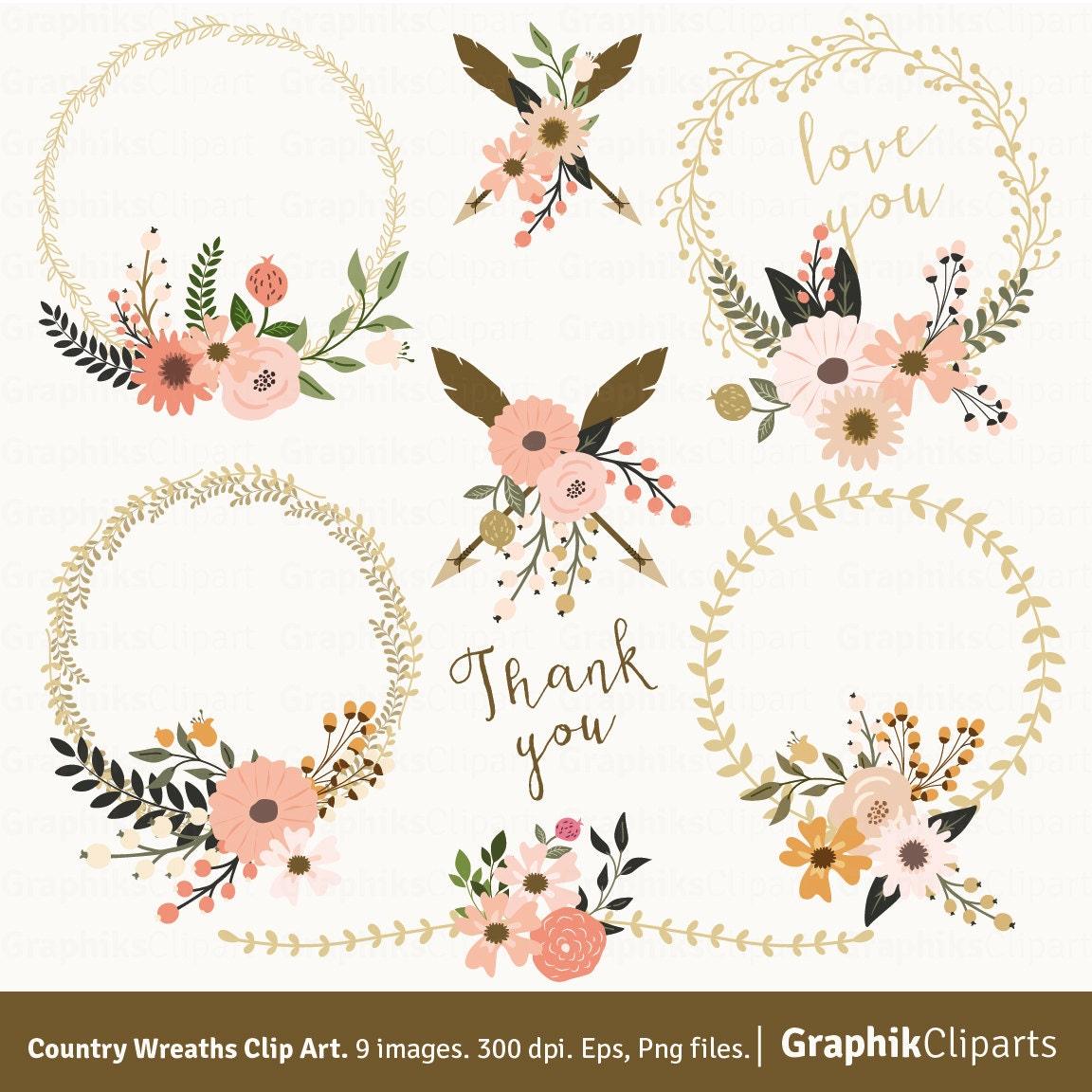 Country Wreaths Clip Art. WREATHS CLIP ART. Rustic Wedding